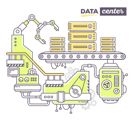 parameter: Vector illustration of creative professional mechanism to produce server on the conveyor belt with text data center on white background. Draw flat thin line art style design for data center, server, information theme Illustration
