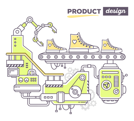 produce product: Vector illustration of creative professional mechanism to produce sport footwear on the conveyor belt with text product design on white background. Draw flat thin line art style design for sport shoes, product design theme