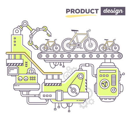 produce product: Vector illustration of creative professional mechanism to produce new bicycle on the conveyor belt with text product design on white background. Draw flat thin line art style design for sport bicycle product design theme