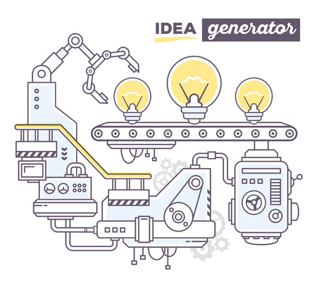create idea: Vector illustration of creative professional mechanism to produce light bulb on the conveyor belt with text idea generator on white background. Draw flat thin line art style design for idea create theme