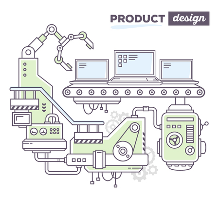 produce product: Vector illustration of creative professional mechanism to produce laptop on the conveyor belt with text product design on white background. Draw flat thin line art style design for laptop product design theme Illustration