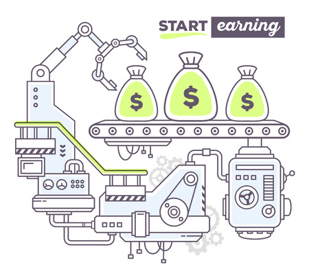 belt up: Vector illustration of creative professional mechanism to produce money on the conveyor belt with text start earning on white background. Draw flat thin line art style design for business finance, start up theme Illustration
