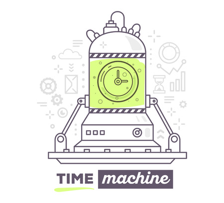 Vector illustration of creative professional mechanism of time machine with gray icons, text time machine on white background. Draw flat thin line art style design for business time machine, management theme with clock Vettoriali