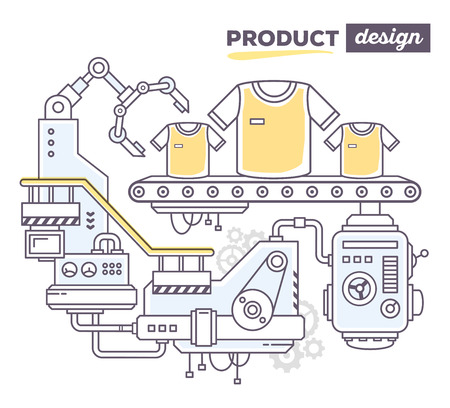 produce product: Vector illustration of creative professional mechanism to produce sport clothes on the conveyor belt with text product design on white background. Draw flat thin line art style design for sport clothes, product design theme