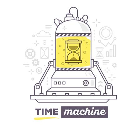 Vector illustratie van de creatieve professional mechanisme van tijdmachine met grijze pictogrammen, tekst tijd machine op een witte achtergrond. Trek platte dunne lijn art stijl ontwerp voor het bedrijfsleven tijdmachine, management thema met zandloper Vector Illustratie