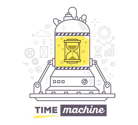 Vector illustration of creative professional mechanism of time machine with gray icons, text time machine on white background. Draw flat thin line art style design for business time machine, management theme with hourglass Illusztráció