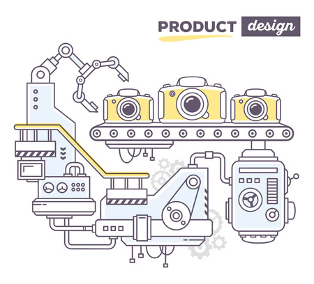 produce product: Vector illustration of creative professional mechanism to produce photo camera on the conveyor belt with text product design on white background. Draw flat thin line art style design for camera review, product design theme