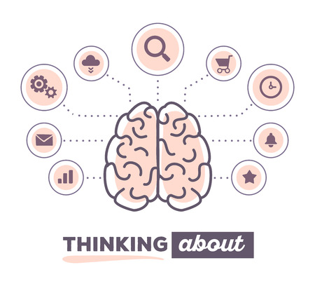Vector illustration creative infographic of brain with icons and text thinking about on white background. Creative ideas concept. Hand draw flat thin line art style design of brain pink color for creative idea, brainstorm theme