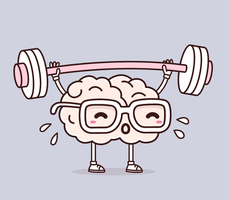 Vector illustration of retro pastel color pink brain with glasses lifting weights on gray background. Exercising cartoon brain concept. Doodle style. Thin line art flat design of character brain for sport, training, education theme