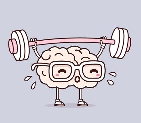 Vektor-Illustration von Retro-Pastellfarben rosa Gehirn mit Brille Gewichte auf grauem Hintergrund heben. Die Ausübung Cartoon Gehirn Konzept. Doodle Stil. Dünne Linie Kunst flache Design des Charakters Gehirn für Sport, Ausbildung, Bildung Thema