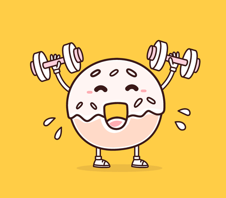 sports symbols metaphors: Vector illustration of bright color smile donut lifts dumbbells on yellow background. Fitness cartoon donut concept. Doodle style. Thin line art flat design of character donut for sport, lose weight, fitness theme Illustration