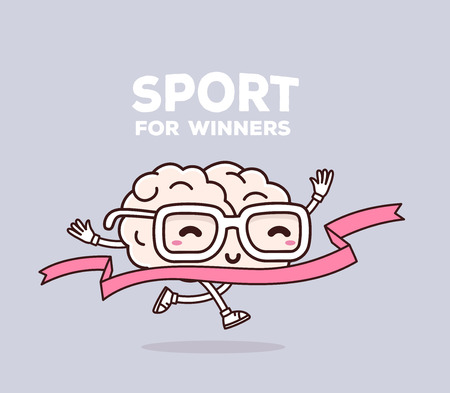 Vector illustration of retro pastel color smile pink brain with glasses runs through the tape to win on gray background. Creative cartoon brain concept. Doodle style. Thin line art flat design of character brain for sport win theme Ilustração