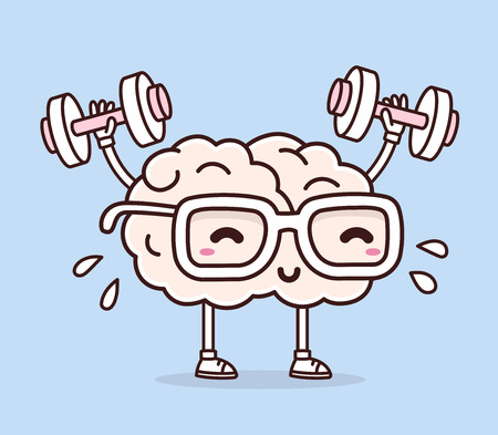 Vector illustration of retro pastel color smile pink brain with glasses lifts with dumbbells on blue background. Fitness cartoon brain concept. Doodle style. Thin line art flat design of character brain for sport, training, education theme