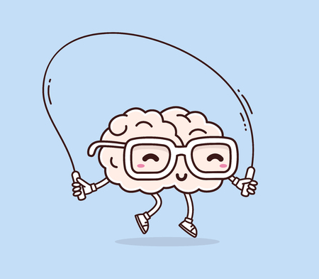 Vector illustration of retro pastel color smile pink brain with glasses jumping rope on blue background. Fitness cartoon brain concept. Doodle style. Thin line art flat design of character brain for sport, training, education theme