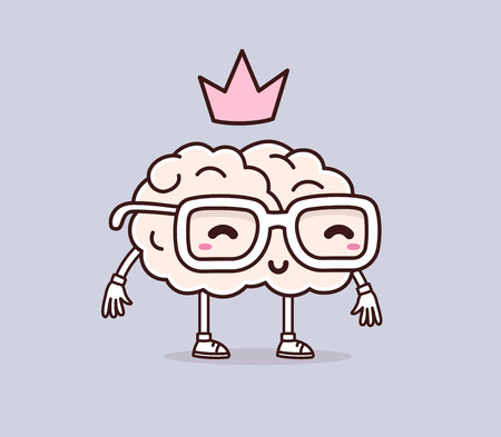 Vector illustration of retro pastel color smile brain with glasses and pink crown on gray background. Creative cartoon brain concept. Doodle style. Thin line art flat design of character brain for brainstorm, science, training, education theme