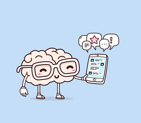 Vector illustration of retro pastel color smile pink brain with glasses holding phone on blue background. Creative cartoon brain concept. Doodle style. Thin line art flat design of character brain for mobile communication theme Illustration