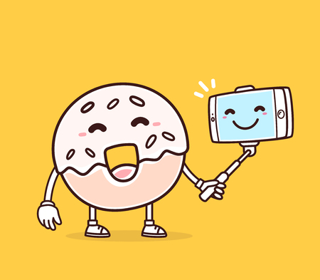 donut style: Vector illustration of bright color smile donut with phone making selfie on yellow background. Selfie cartoon donut concept. Doodle style. Thin line art flat design of character donut for mobile selfie theme