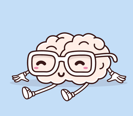 Vector illustration of retro pastel color sitting smile pink brain with glasses on blue background. Creative cartoon brain concept. Doodle style. Thin line art flat design of character brain for brainstorm, science, training, education theme Ilustracja