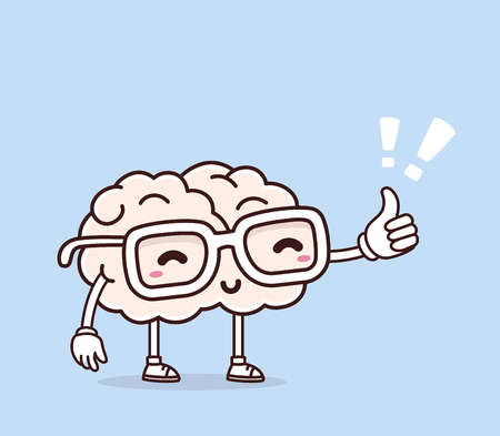 복고풍 파스텔 색상의 벡터 일러스트 레이 션 안경 및 파란색 배경에 엄지 손가락 최대 핑크 두뇌 미소. 창의적인 만화 두뇌 개념입니다. 낙서 스타일.  일러스트