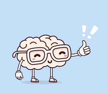 Vector illustratie van retro pastel kleuren glimlach roze hersenen met bril en duim omhoog op een blauwe achtergrond. Creative cartoon hersenen concept. Doodle stijl. Dunne lijn art platte ontwerp van het karakter hersenen brainstorm, wetenschap, opleiding, onderwijs thema