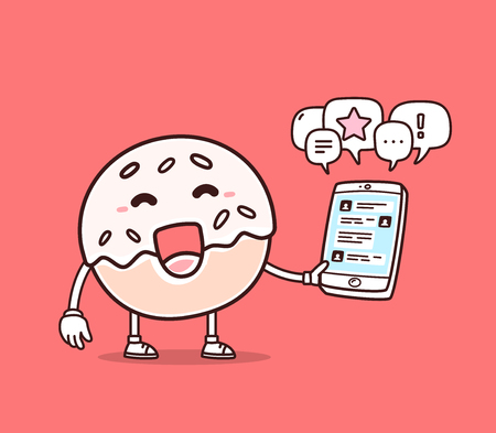 Vector illustration of bright color smile donut holding phone on red background. Chatting cartoon donut concept. Doodle style. Thin line art flat design of character donut for mobile communication theme Illustration