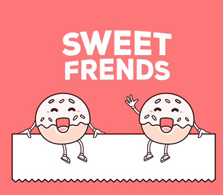 Vector illustration of smile sweet donut friends sitting on white blank sign on red background. Creative cartoon donut concept. Doodle style. Thin line art flat design of character donut for friendship theme