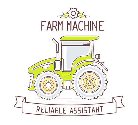 agricultural application tractor: Vector illustration of color gray and green  farm machine and ribbon with text on white background. Agribusiness. Thin line art flat design of tractor for farming web, site, agricultural application, interface, ad, poster, print, banner, board
