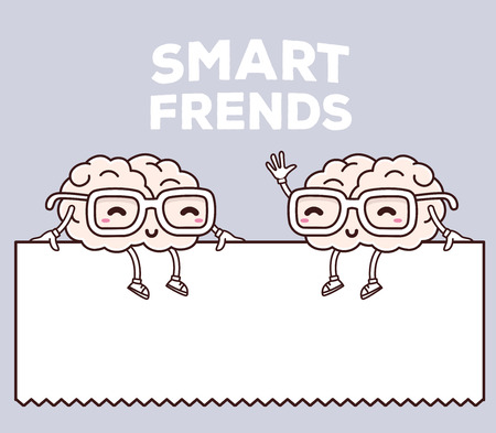 Vector illustratie van retro kleur glimlach slimme vrienden met een bril zitten op wit leeg teken op grijze achtergrond. Creative cartoon hersenen concept. Doodle stijl. Dunne lijn art platte ontwerp van het karakter hersenen brainstorm thema