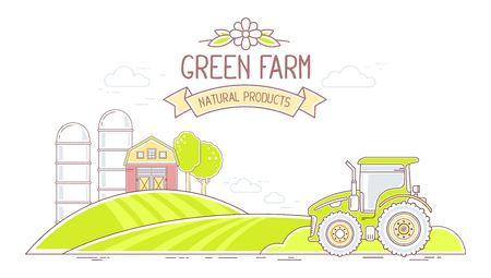 agribusiness: Agribusiness. Vector horizontal illustration of colorful green farm life with natural economy on white background. Village landscape concept. Thin line art flat design of countryside for farming and agricultural theme Illustration