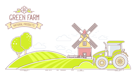 tillage: Agribusiness.Vector horizontal illustration of colorful green farm life with natural economy on white background.Village landscape.Thin line art flat design of countryside for farming and agricultural theme