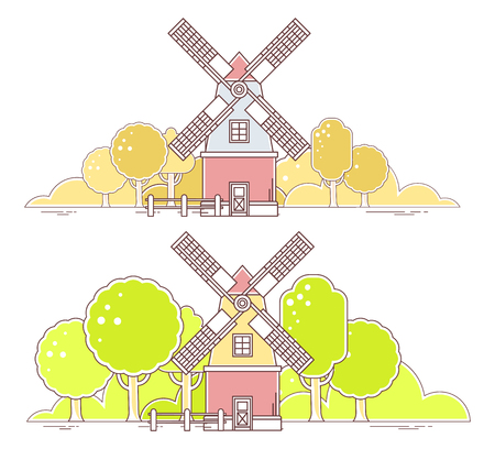 farmstead: Vector illustration of color gray and red  windmill with autumn yellow and green spring rural forest on white background. Agribusiness. Thin line art flat design of mill for farming web, site, agricultural application, interface, ad, poster, print, banner