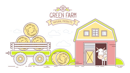 Agribusiness. Vector horizontal illustration of colorful modern green farm life with natural economy on white background. Village landscape. Thin line art flat design of countryside for farming and agricultural theme