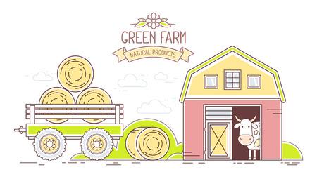 Secteur agroalimentaire. Vector illustration horizontale de vie à la ferme verte moderne et colorée avec économie naturelle sur fond blanc. Village paysage. art en ligne design plat mince de campagne pour l'agriculture et le thème agricole