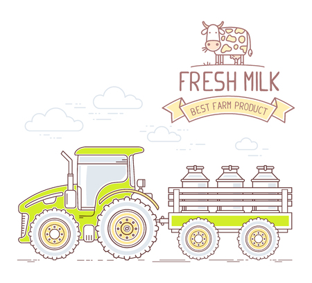 agribusiness: Agribusiness. Vector illustration of green farm tractor with cart with milk can isolated on white background. Village landscape. Thin line art flat design of countryside for farming and agricultural theme Illustration
