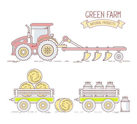 plow: Agribusiness.Vector illustration of collection of farm tractor with plow and cart with hay and milk isolated on white background. Village landscape. Thin line art flat design of countryside for farming and agricultural theme Illustration