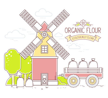 farmstead: Vector illustration of color yellow and red  windmill and green rural forest on white background.Agribusiness.Thin line art flat design of mill for farming and agricultural theme Illustration