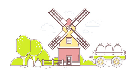 farmstead: Vector horizontal illustration of color gray and red  windmill and yellow rural forest on white background.Agribusiness.Thin line art flat design of mill for farming and agricultural theme
