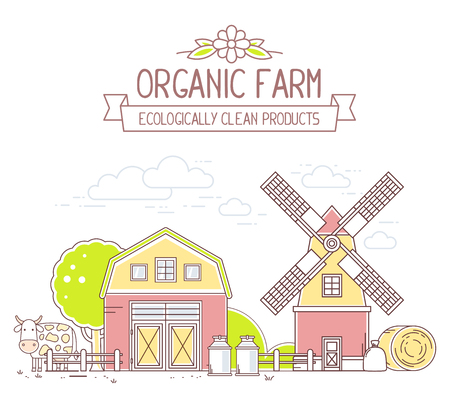 Agribusiness.Vector illustration of colorful milk farm life with natural economy on white background.Modern village landscape.Thin line art flat design of countryside for farming web, site, agricultural application, interface