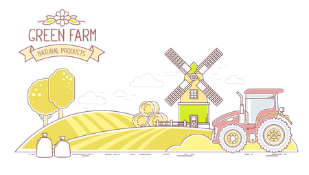 wind mills: Agribusiness.Vector horizontal illustration of autumn harvest yellow farm life with natural economy on white background.Village landscape.Thin line art flat design of countryside for farming and agricultural theme