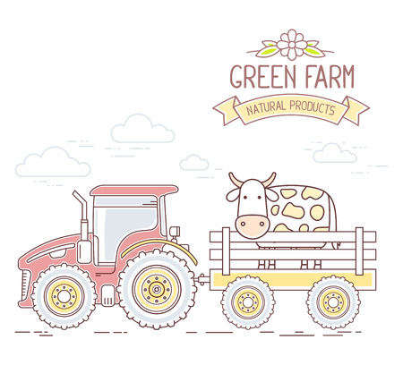 agribusiness: Agribusiness. Vector illustration of red farm tractor with cart a cow isolated on white background. Village landscape. Thin line art flat design of countryside for farming and agricultural theme