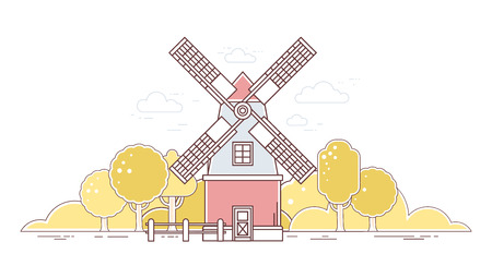 farmstead: Vector horizontal illustration of color gray and red  windmill and autumn yellow rural forest on white background. Agribusiness. Thin line art flat design of mill for farming and agricultural theme Illustration