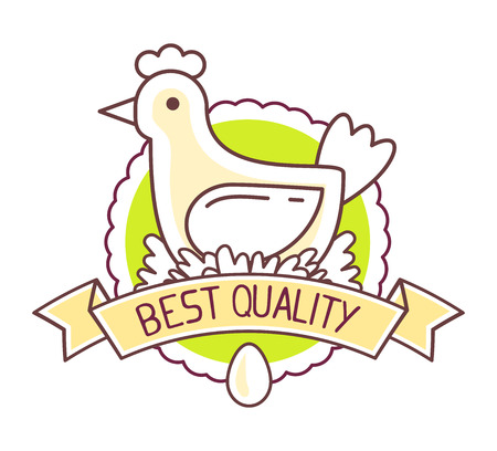 art product: Agribusiness. Vector illustration of chicken  farm natural product on white background. Eco food. Best quality product. Thin line art flat design of countryside for farming and agricultural theme