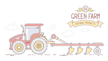 plow: Agribusiness. Vector illustration of red farm tractor with plow isolated on white background. Village landscape. Thin line art flat design of countryside for farming and agricultural theme