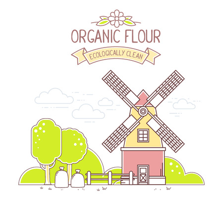 agribusiness: Vector illustration of color yellow and red  windmill and green rural garden on white background. Agribusiness. Thin line art flat design of mill for farming and agricultural theme