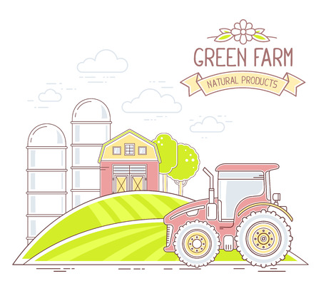 agribusiness: Agribusiness. Vector illustration of colorful green farm life with natural economy on white background. Village landscape concept. Thin line art flat design of countryside for farming and agricultural theme