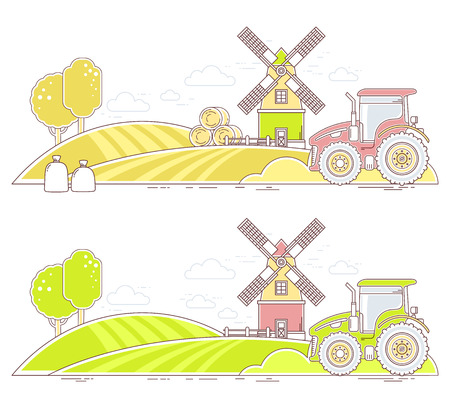 Agribusiness.Vector illustration of colorful farm life with natural economy on white background.Village landscape.Thin line art flat design of countryside for farming web, site, agricultural application, interface Illustration