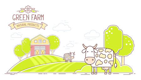 Agribusiness. Vector horizontal illustration of colorful modern cattle farm life with natural economy on white background. Village landscape. Thin line art flat design of countryside for farming and agricultural theme