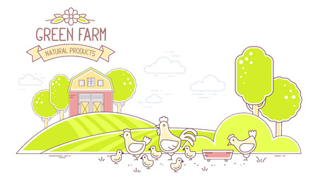 agribusiness: Agribusiness. Vector horizontal illustration of colorful modern poultry green farm life with natural economy on white background. Village landscape. Thin line art flat design of countryside for farming and agricultural theme