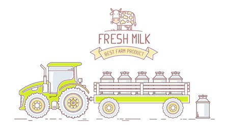 fresh milk: Agribusiness. Vector horizontal illustration of green farm tractor with cart with milk can isolated on white background. Village landscape. Thin line art flat design of countryside for farming and agricultural theme