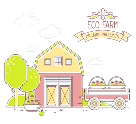 farming village: Agribusiness. Vector illustration of colorful modern farm life at apple harvest time on white background. Village landscape. Thin line art flat design of countryside for farming, agricultural harvest theme Illustration